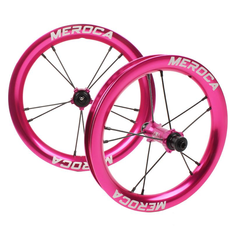 MEROCA Sliding Bike Wheel Set 12 inch wheelset K Bike S Balance Bicycle Modification High Rim circle 2 Bearing Palin Wheels Rose Red