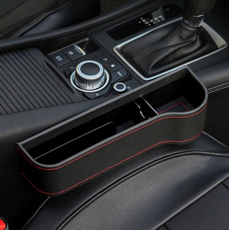 Multifunction Leather Storage Box for Car Seat Side Gap Leather black copilot