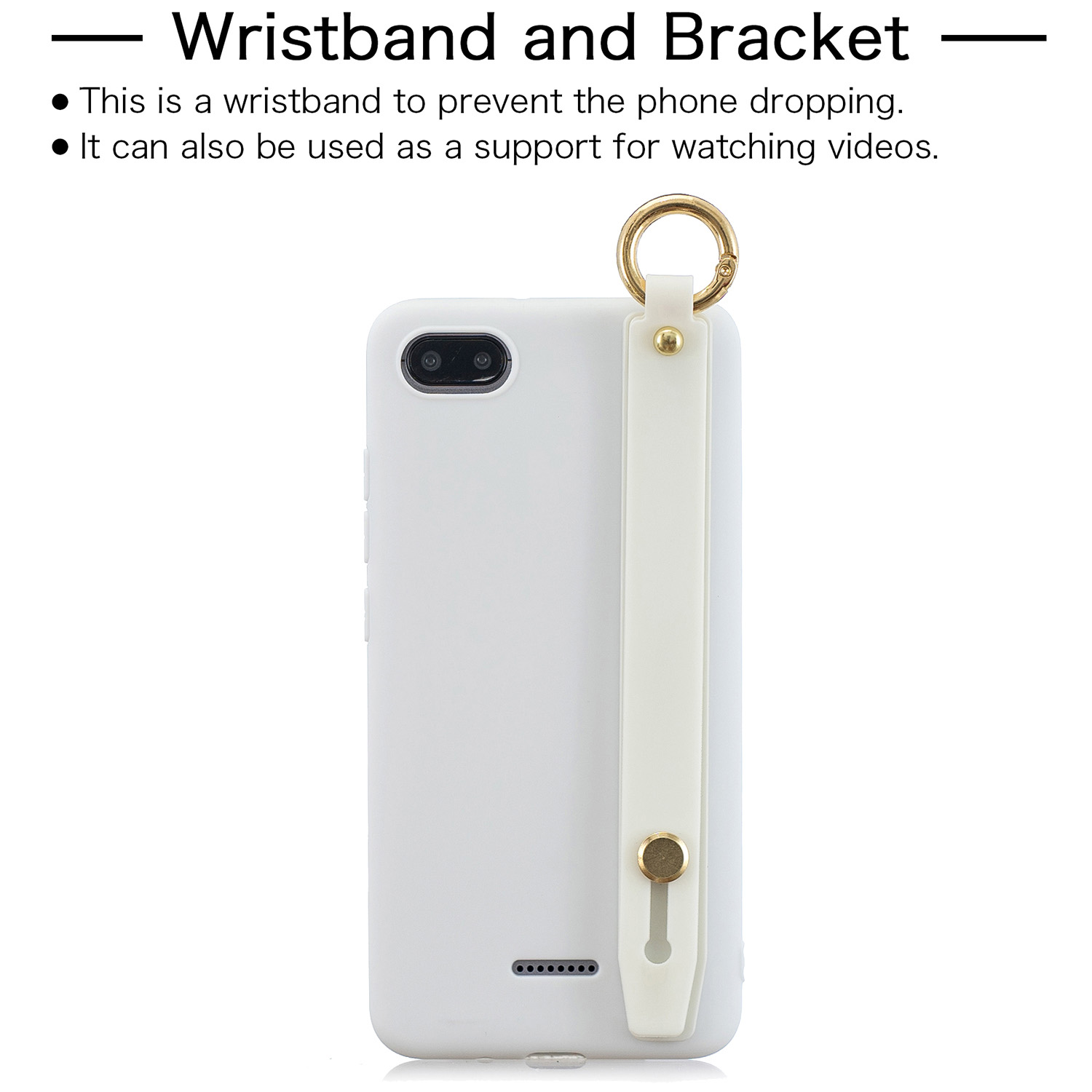 For Redmi 6A Simple Solid Color Chic Wrist Rope Bracket Matte TPU Anti-scratch Non-slip Protective Cover Back Case 2 white