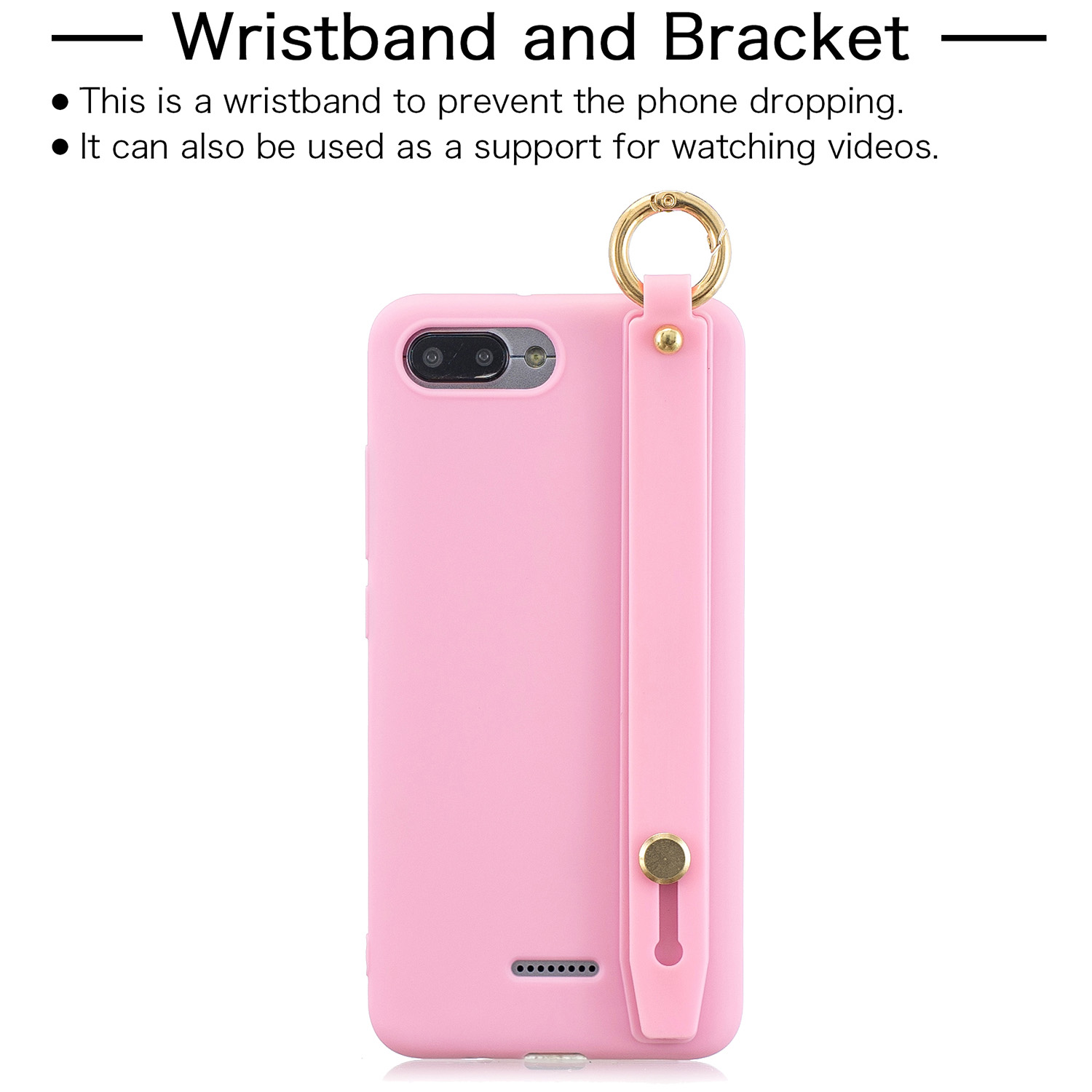 For Redmi 6A Simple Solid Color Chic Wrist Rope Bracket Matte TPU Anti-scratch Non-slip Protective Cover Back Case 5 dark pink