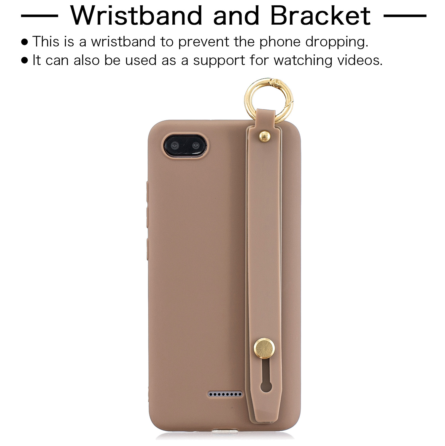 For Redmi 6A Simple Solid Color Chic Wrist Rope Bracket Matte TPU Anti-scratch Non-slip Protective Cover Back Case 9 coffee