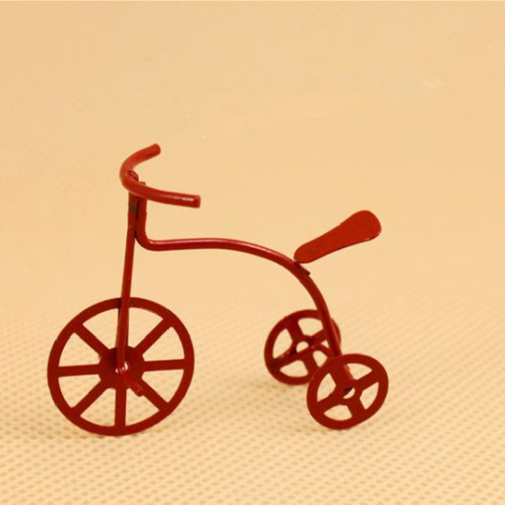 Mini Red Iron Art Bicycle for 1:12 Doll House Accessories Decoration