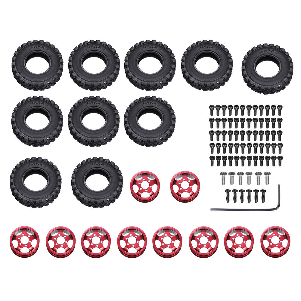 WPL 6x6 Double RC Car Wheel Tire for WPL B16 B36 JJRC Q60 Q63 Q64 Vehicle Models red