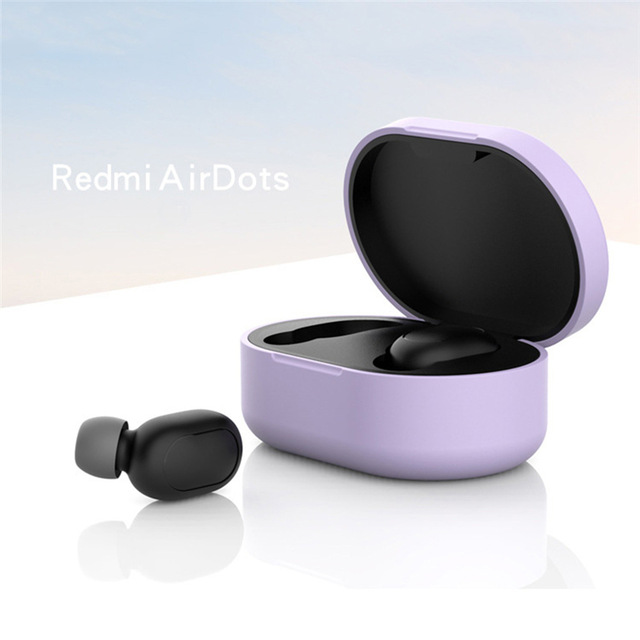 Silicone Protective Cover Earphone Case for Xiaomi Redmi Airdot TWS Bluetooth Earphone Fashion Version Wireless purple