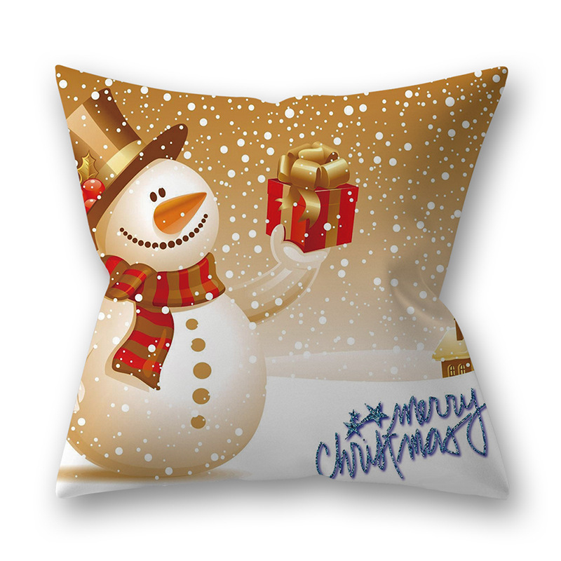 Decorative Polyester Peach Skin Christmas Series Printing Throw Pillow Cover 19#_45*45cm