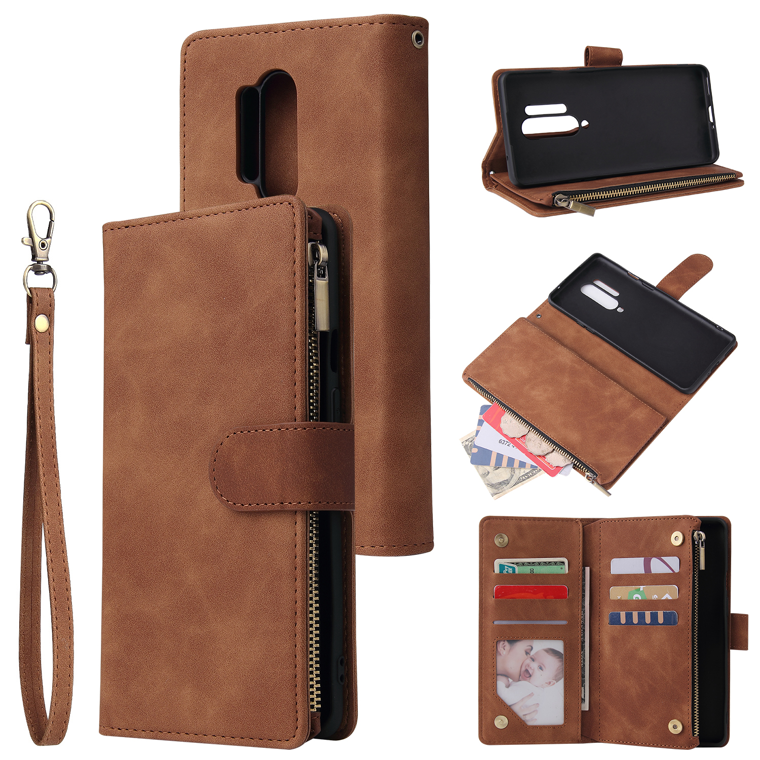 For One plus 8 pro Mobile Phone Case Smartphone Shell Wallet Design Zipper Closure Overall Protection Cellphone Cover  4 brown