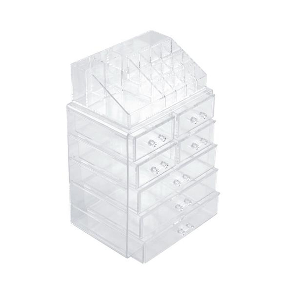 [US Direct] 2pcs N001 Makeup  Organizer Transparent Cosmetic Storage Drawers Acrylic Makeup Holders With 7 Drawers Transparent