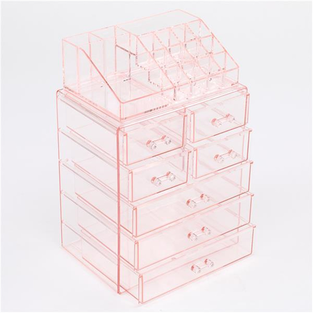 [US Direct] 2pcs N001 Makeup  Organizer Cosmetic Storage Drawers Acrylic Makeup Holders With 7 Drawers Pink