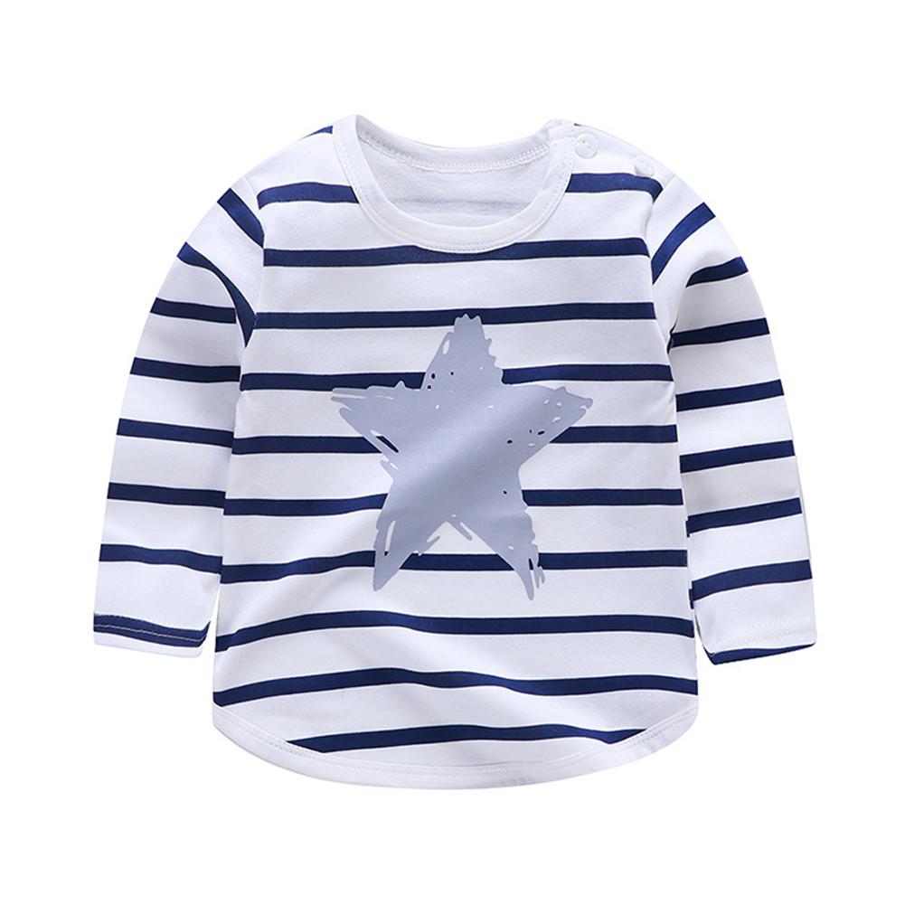 Children's T-shirt  Long-sleeved Cartoon Print All-match Top for 1-5 Years Old Kids E _90cm