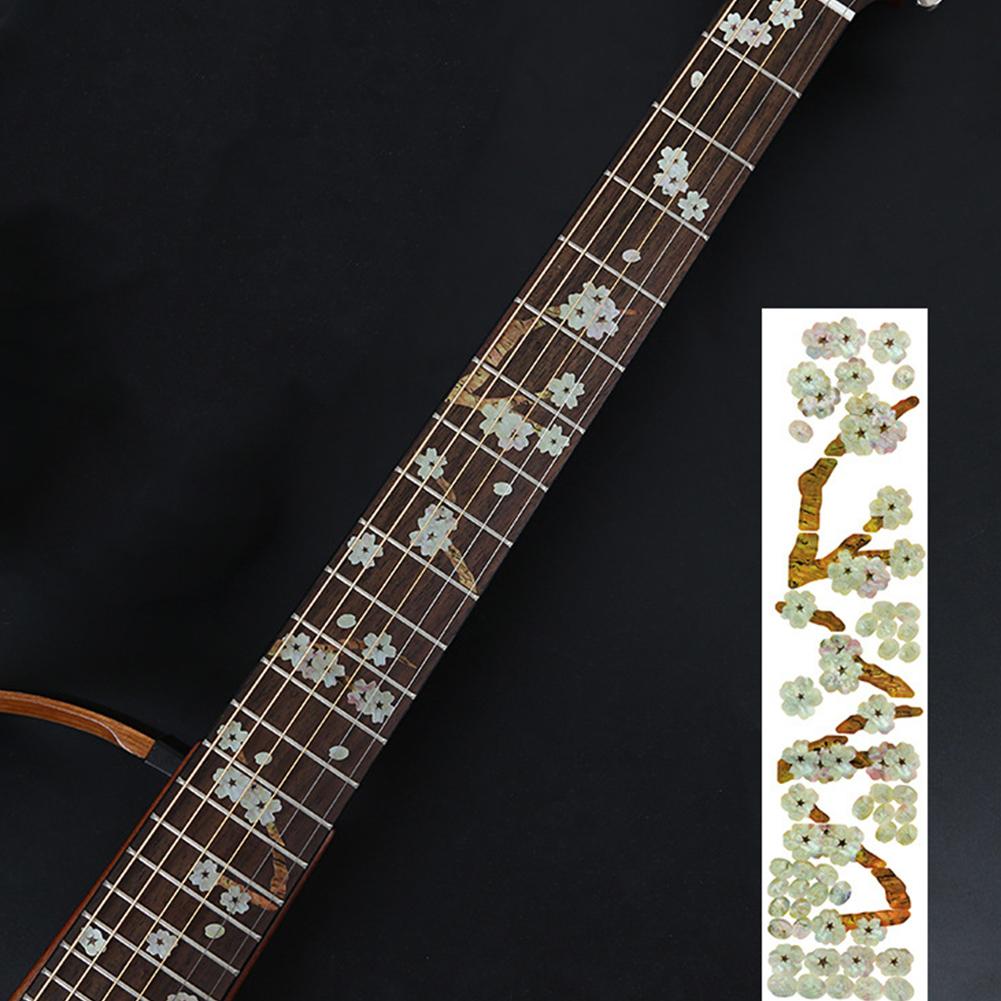 Animal Plant Pattern Guitar Fingerboard Fretboard Stickers Guitar Decals Decoration C  (sakura)