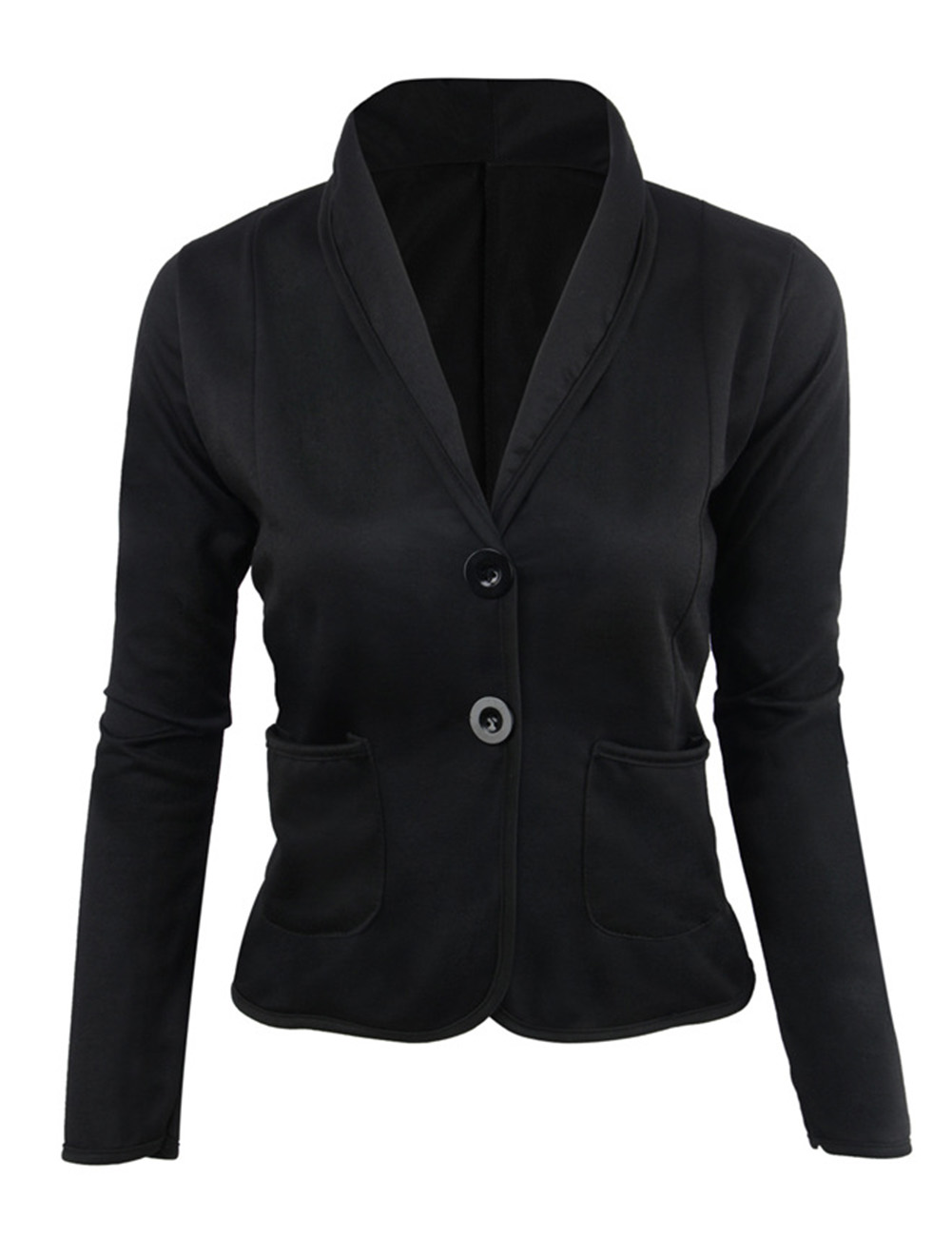 Women Fashion Lapels Design Jackets Small Type Matching Suit Coat Double Button Placket Tops