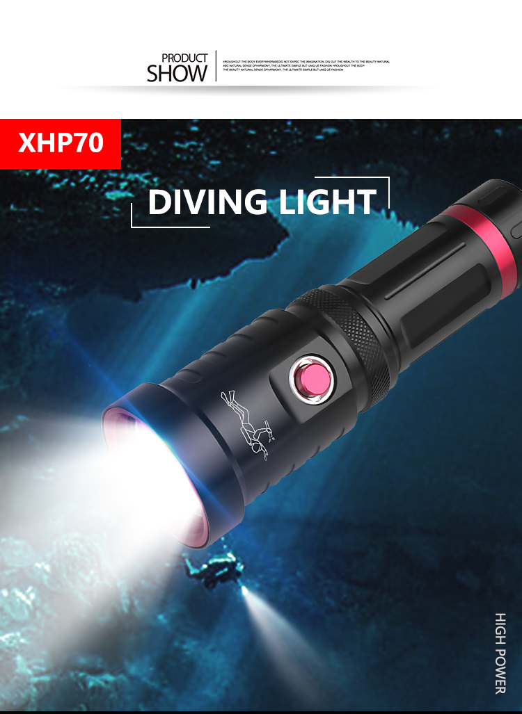 Powerful P70 Scuba Diving Flashlight Diver Light LED Underwater Torch Lamp black_Model D60