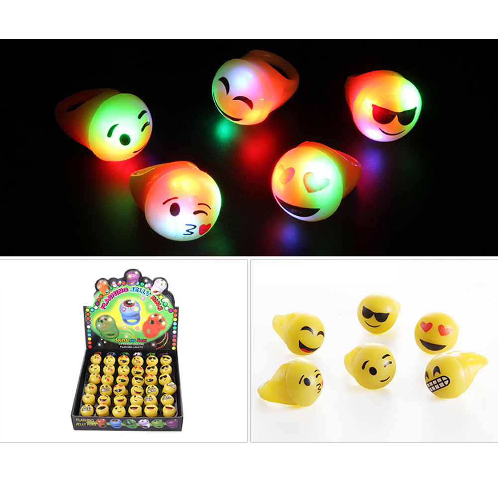 36Pcs Cartoon Pattern 3 Modes Luminous Rings Toy for Halloween Christmas Soft expression ring