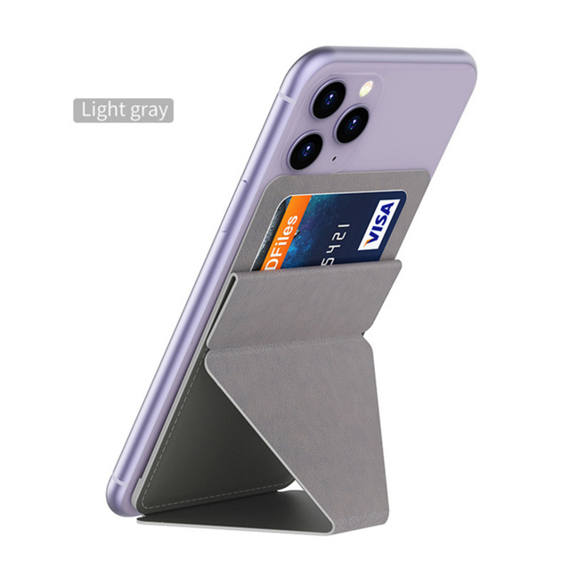 Sticky Invisible Mobile Phone Holder Cellphone Stand Foldable Smartphone Desk Mount Magnetic Ring Buckle gray