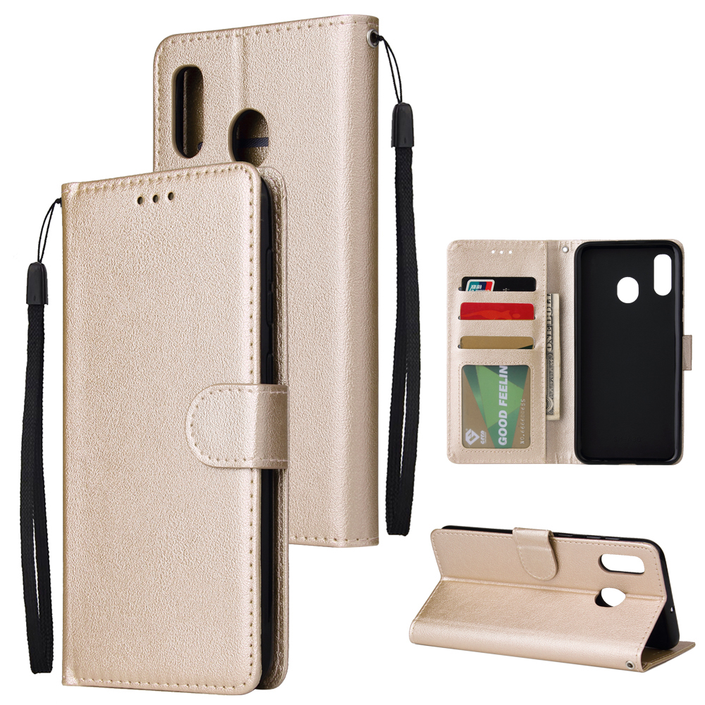For Samsung A30/A20 Flip-type Leather Protective Phone Case with 3 Card Position Buckle Design Phone Cover  Gold