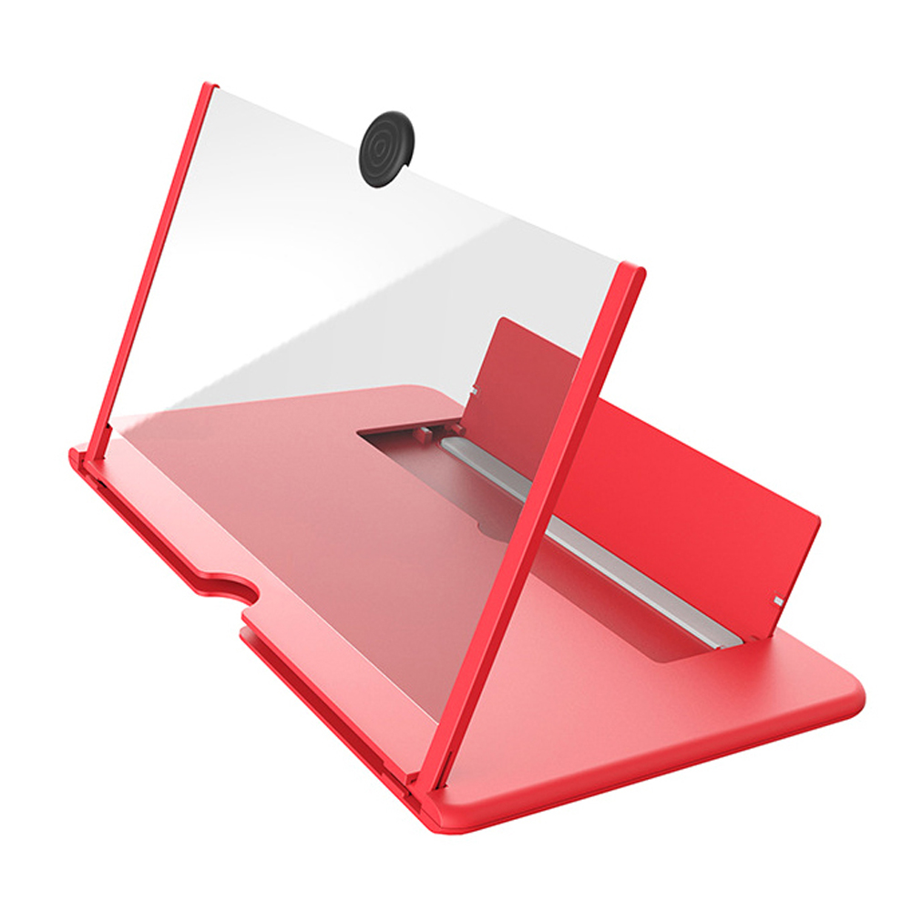 12inch 3D HD Phone Screen Magnifier Eye Protection Movie Phone Holder Foldable Adjustable Angle Non Slip Bracket red_12inch