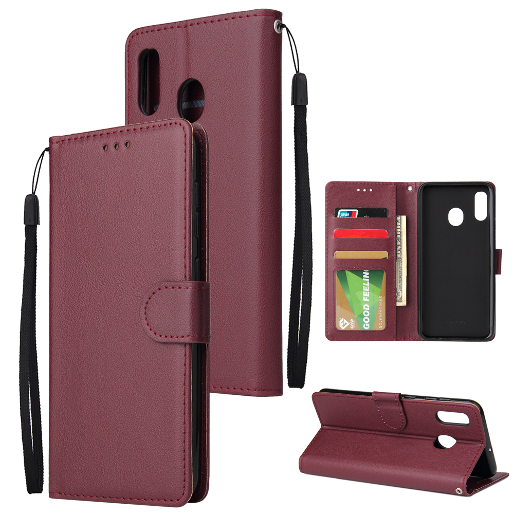 For Samsung A30/A20 Flip-type Leather Protective Phone Case with 3 Card Position Buckle Design Phone Cover  Red wine