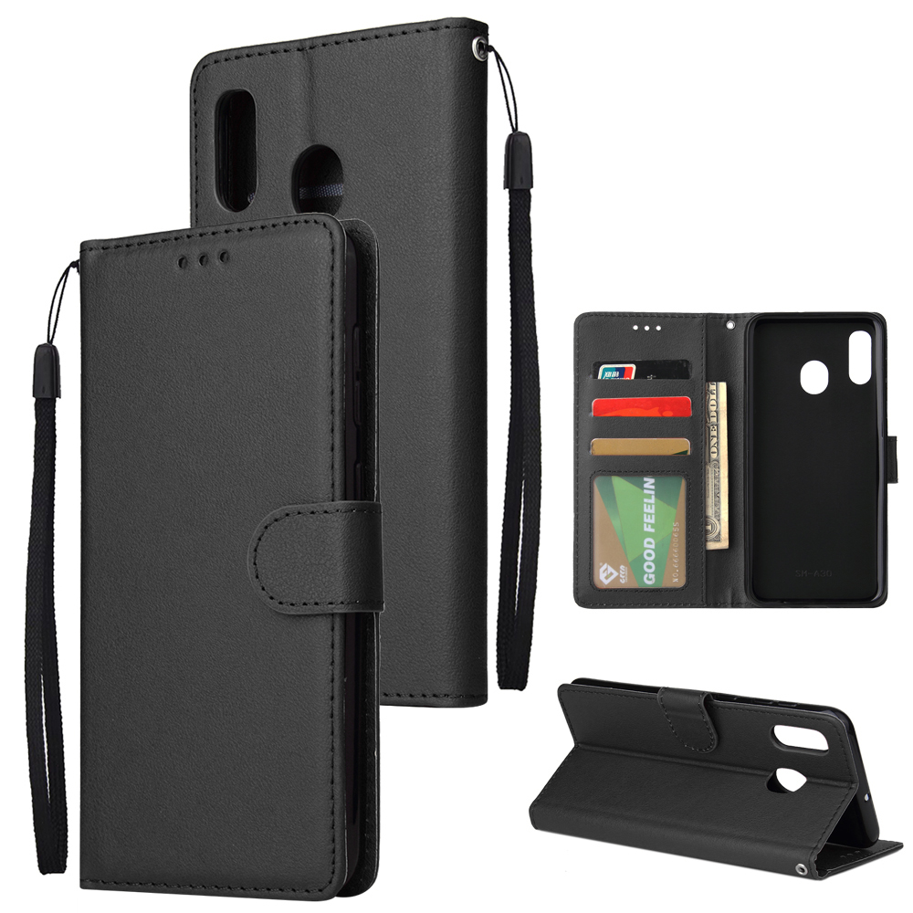 For Samsung A30/A20 Flip-type Leather Protective Phone Case with 3 Card Position Buckle Design Phone Cover  black