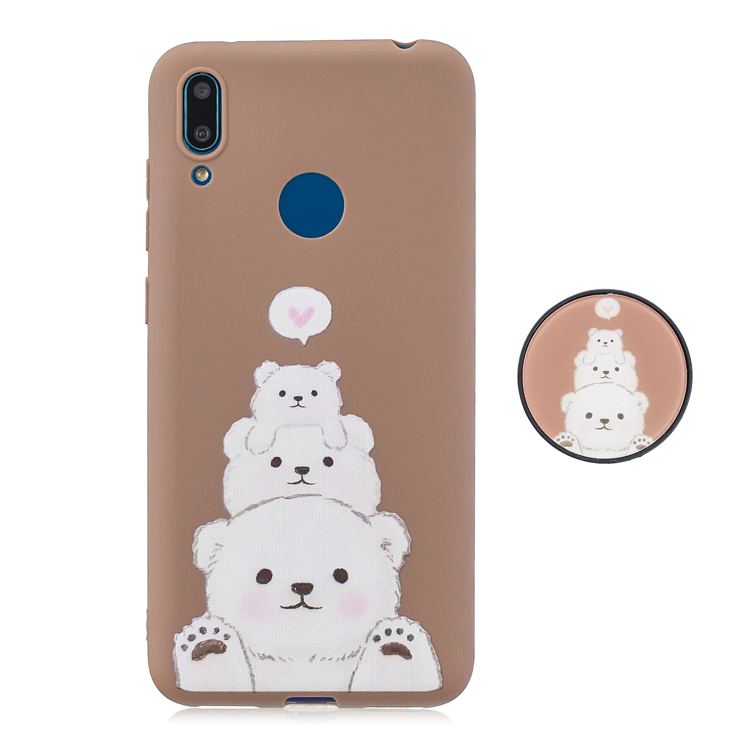 For HUAWEI Y7 2019 Flexible Stand Holder Case Soft TPU Full Cover Case Phone Cover Cute Phone Case 3