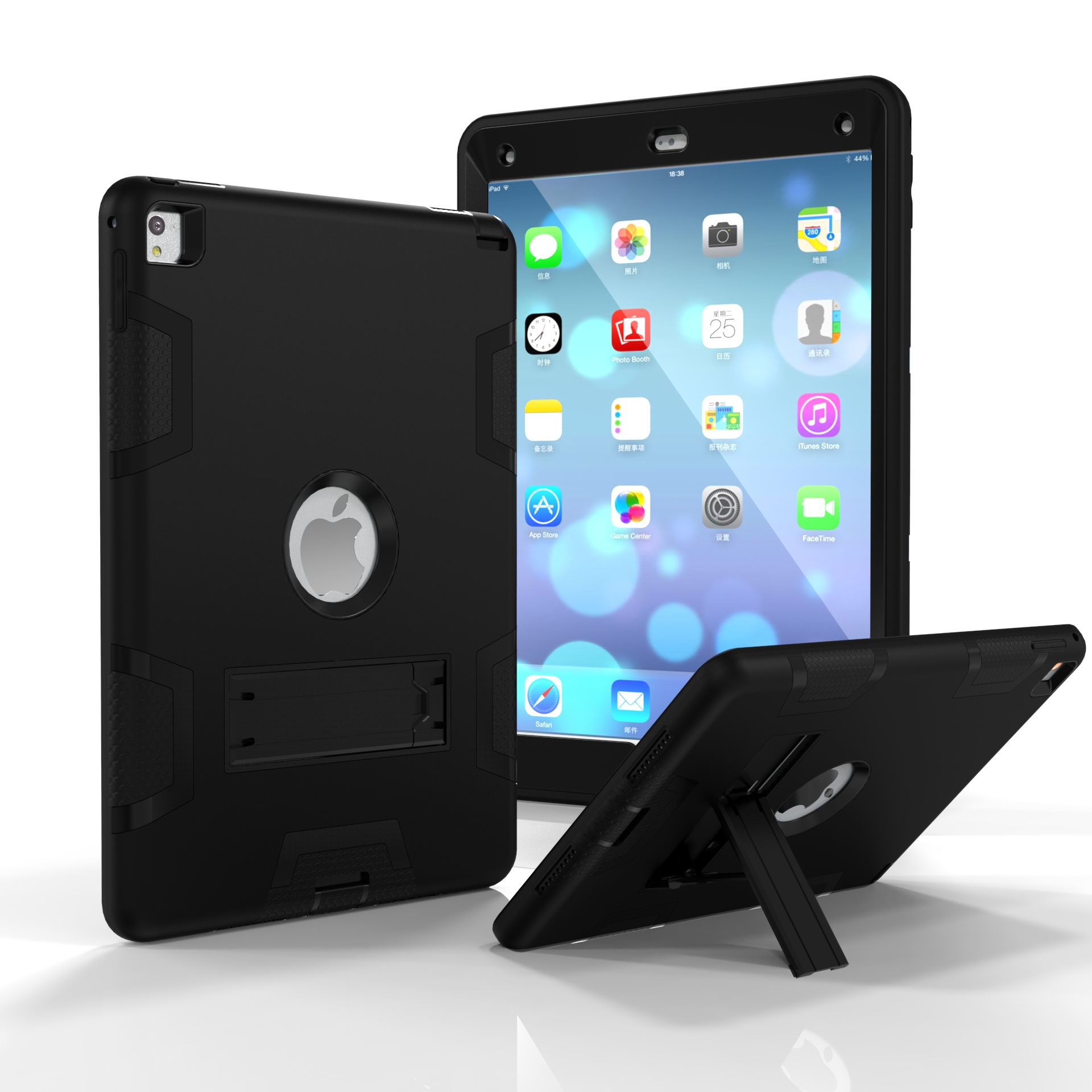 For iPad air2/iPad 6/iPad pro 9.7 2016 PC+ Silicone Hit Color Armor Case Tri-proof Shockproof Dustproof Anti-fall Protective Cover  Black + black
