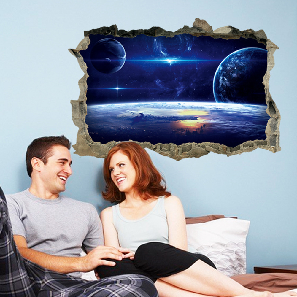 3D Waterproof Removable Universe Pattern Wall Sticker for Ceiling Roof Floor  FX5401