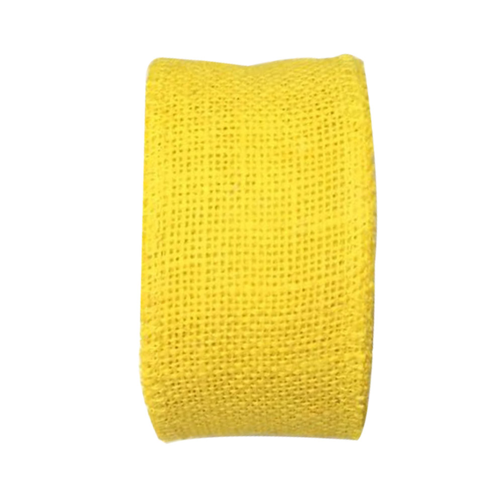 Jute Burlap Ribbon Roll for DIY Party Wedding Cake Holiday Craft Decoration 10m yellow_6cm