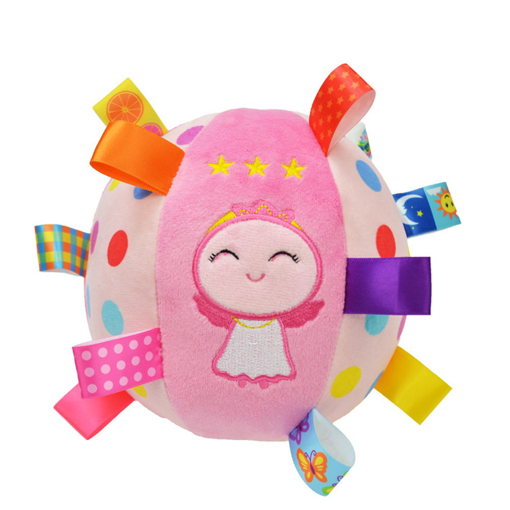Baby Ball Plush Ball Toy Super soft comfort ball Easy to Grasp Bumps Help Develop Motor Skills  Pink Angel