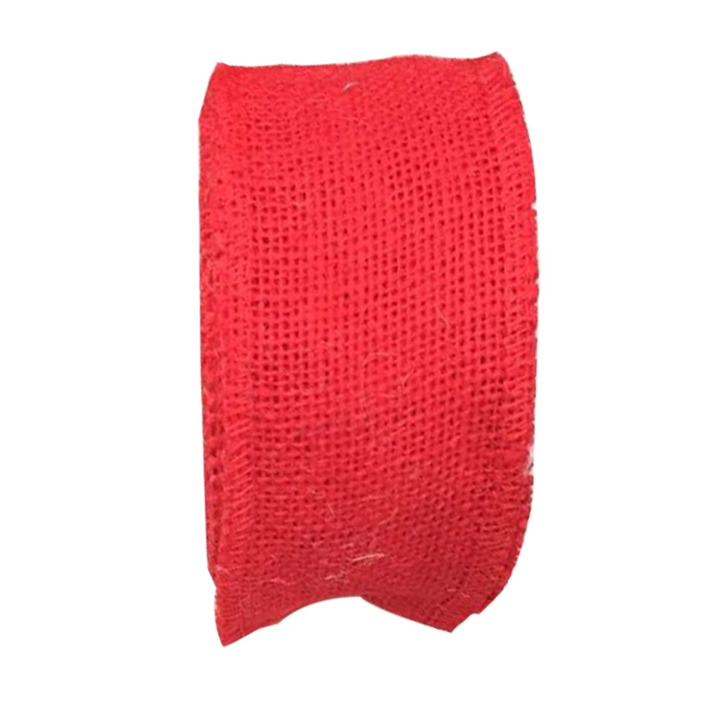 Jute Burlap Ribbon Roll for DIY Party Wedding Cake Holiday Craft Decoration 10m red_6cm