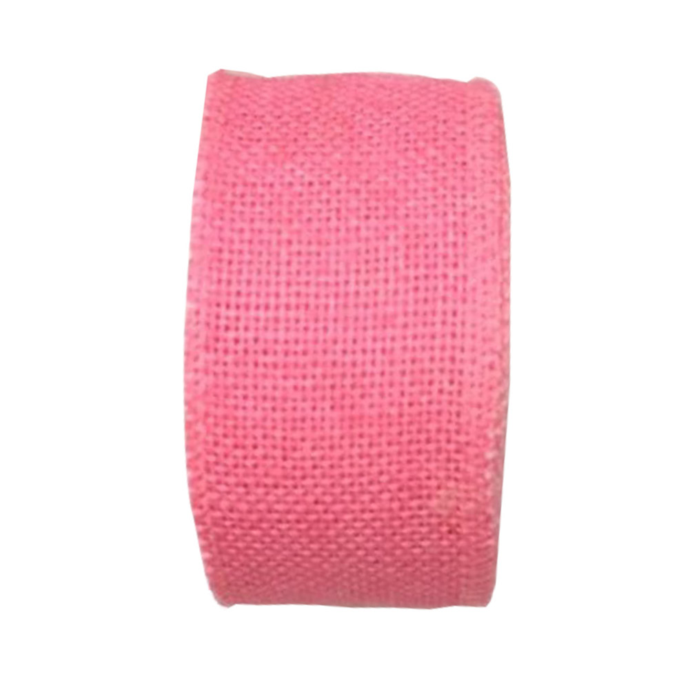 Jute Burlap Ribbon Roll for DIY Party Wedding Cake Holiday Craft Decoration 10m Pink_6cm