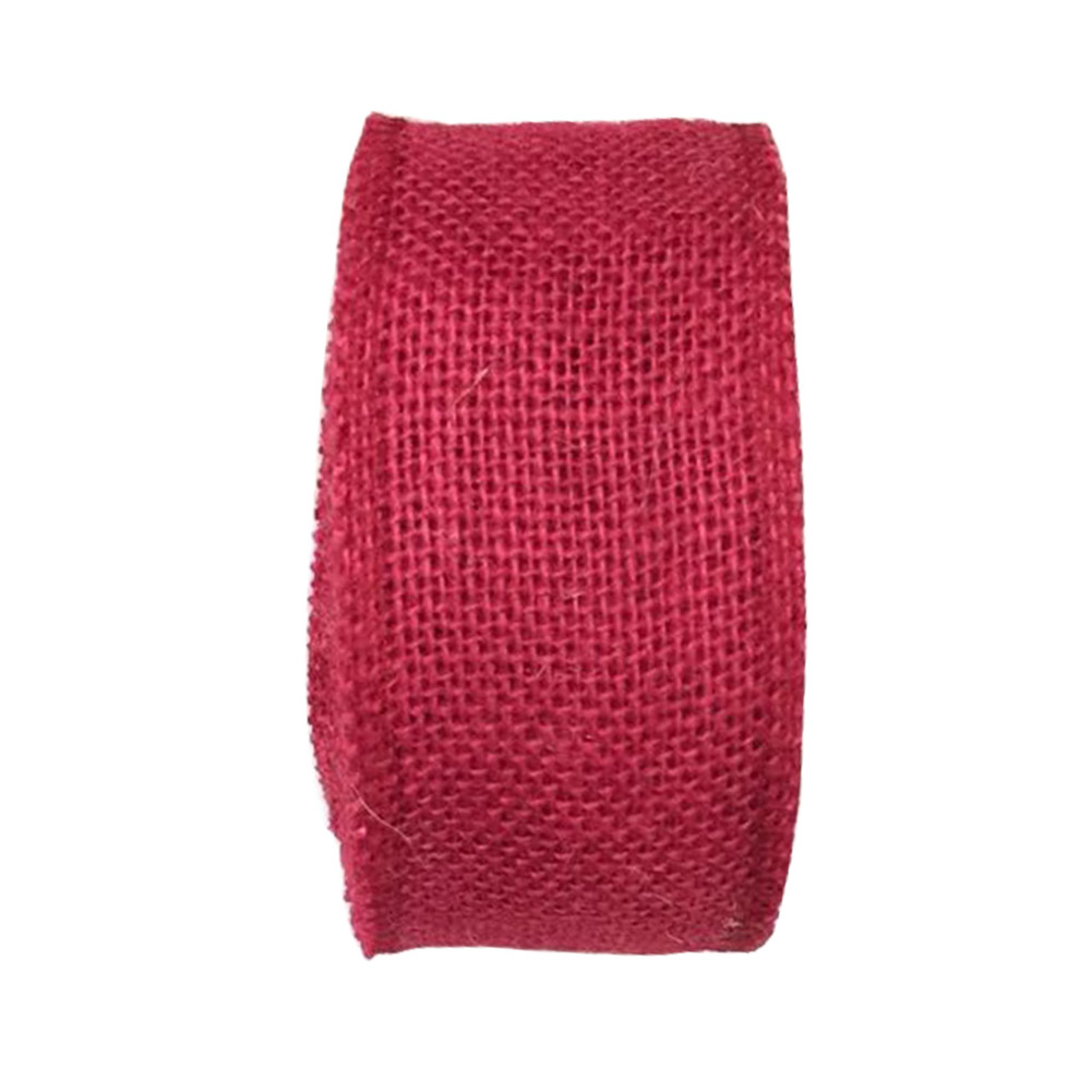 Jute Burlap Ribbon Roll for DIY Party Wedding Cake Holiday Craft Decoration 10m wine red_6cm