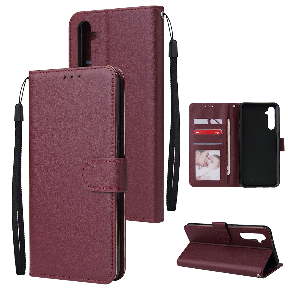 For OPPO A8 / A31/Realme XT / X2 Mobile Phone Case PU Buckle Closure Wallet Design Cards Slots All-round Protection Phone Cover  Red wine