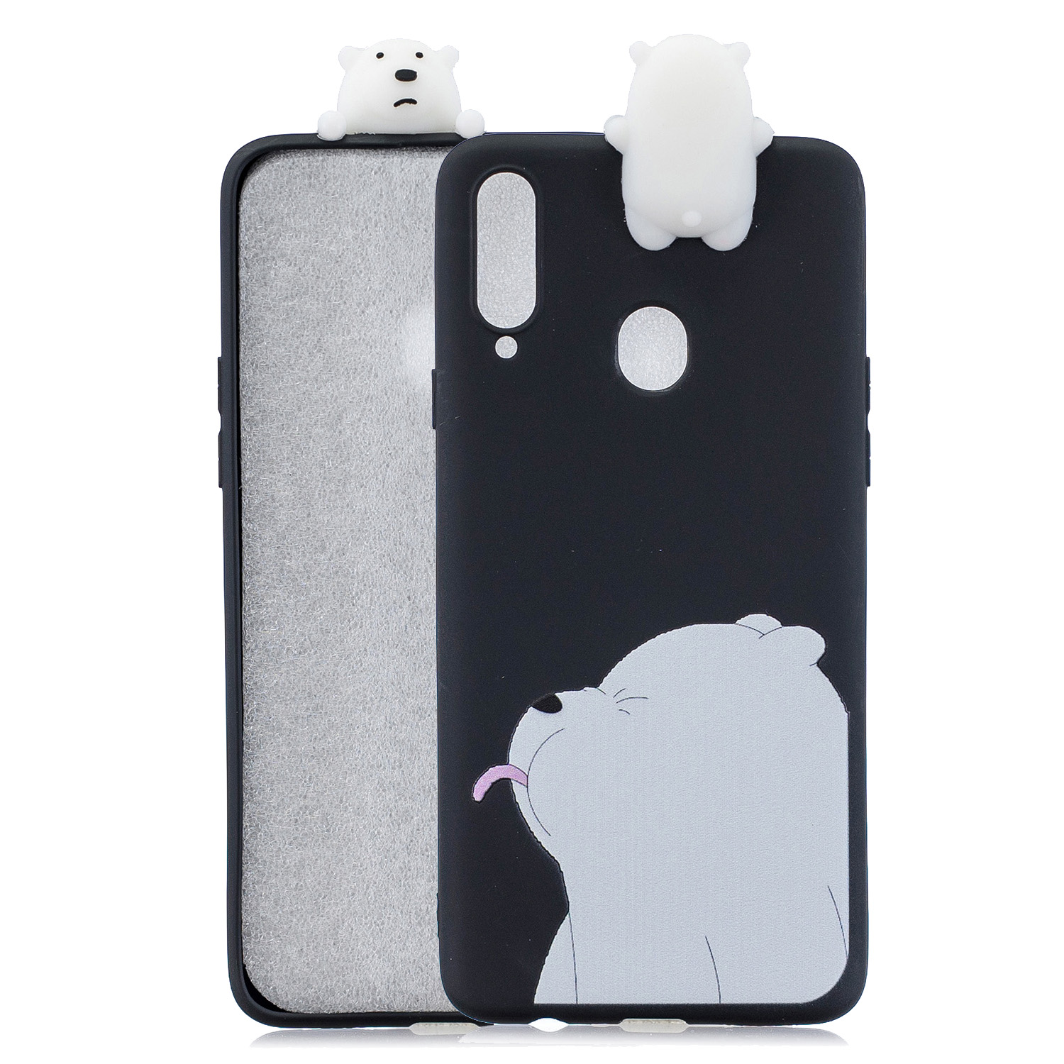 For Samsung A10S A20S Color Painting 3D Cartoon Animal Full Protective Soft TPU Mobile Phone Case black