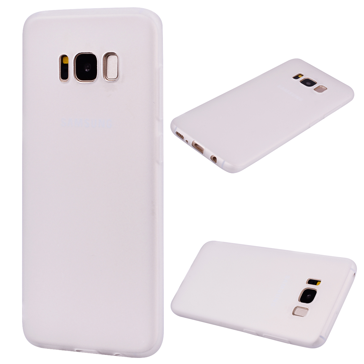 for Samsung S8 Lovely Candy Color Matte TPU Anti-scratch Non-slip Protective Cover Back Case white