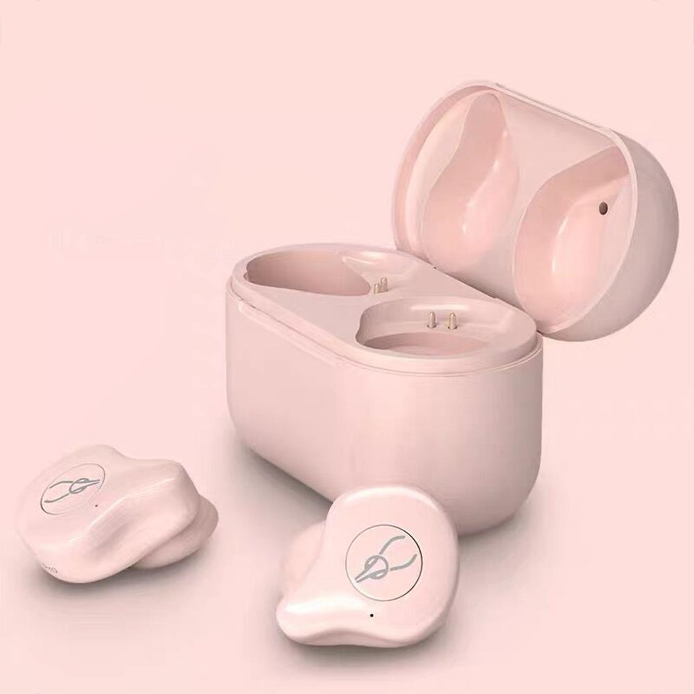 SABBAT X12pro Wireless Bluetooth 5.0 Bilateral Call Headphones In-ear Sports Headset  Pink + pink charging bin