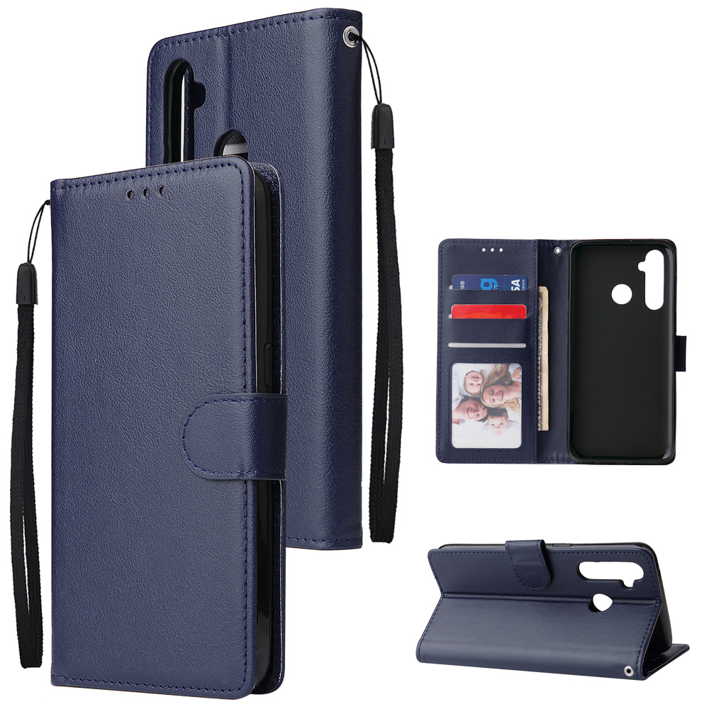 For OPPO Realme 5 Rro Cellphone Cover Buckle Closure Cards Holder Wallet Design Stand Function PU Leather Smart Shell Overall Protection  blue