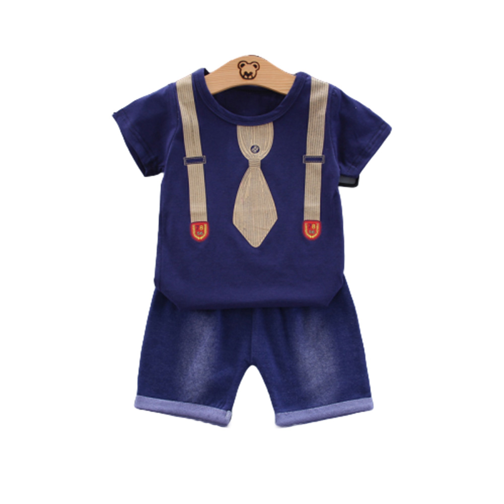 2pcs/set Boys Short-sleeve Suit Cotton Necktie Printed for 0-4 Years Old Baby Navy blue_90cm
