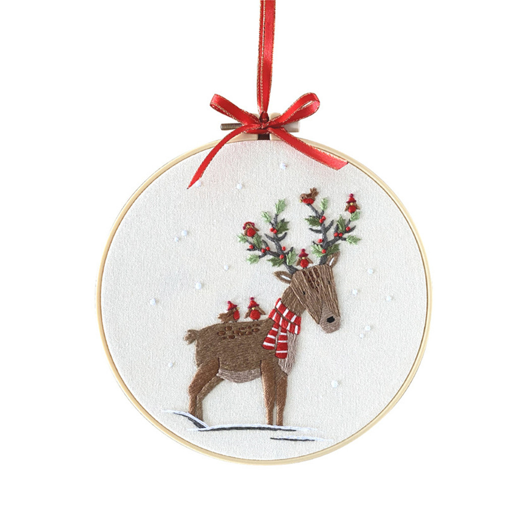 Diy Christmas Embroidery for Beginners Adults Cross Stitch Patterns Starter Kits with Embroidery Hoop Canvas size: 30*30cm