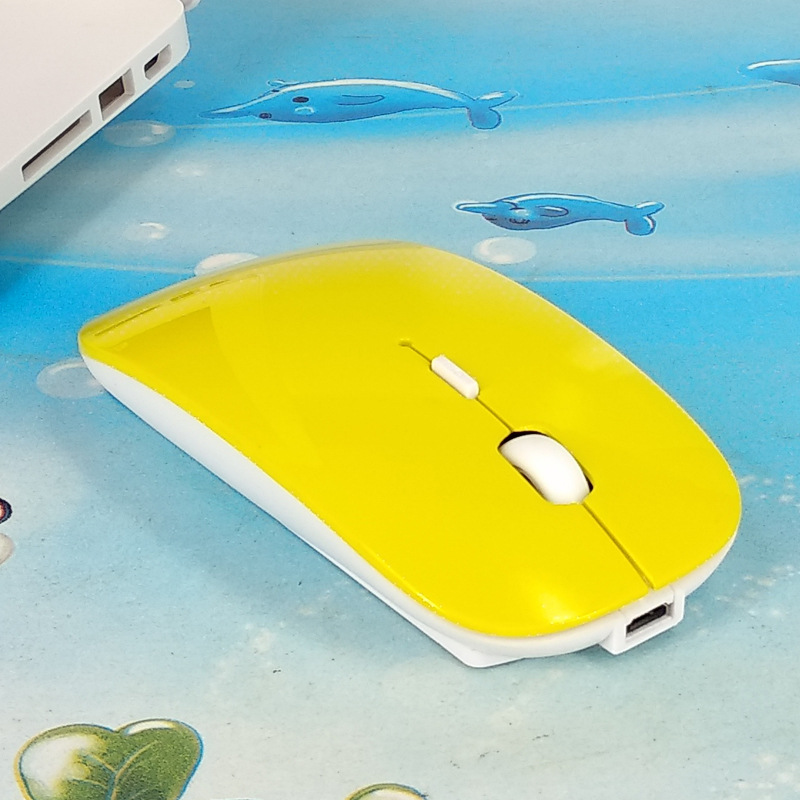Duel Mold Mouse Wireless Rechargeable Slim Silent Bluetooth Mice for PC Laptop Yellow