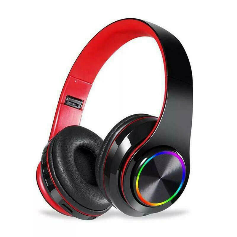 Wireless Luminous Headphones Bluetooth V5.0 Earphones Over-Ear Stereo Super Bass Headset with Microphone Black red