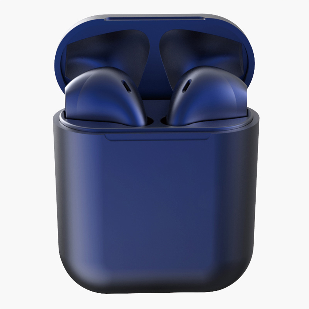 Tws Macaron I12 Wireless Headphones Bluetooth Earphone Headset Super Bass Sound Earbuds Dark blue