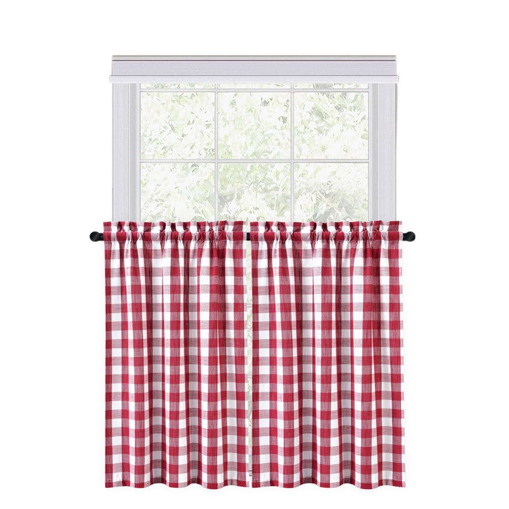 CAROMIO 2PCS Buffalo Check Rod Pocket Window Curtain Home Decor Window Treatments Small Window Curtains Set