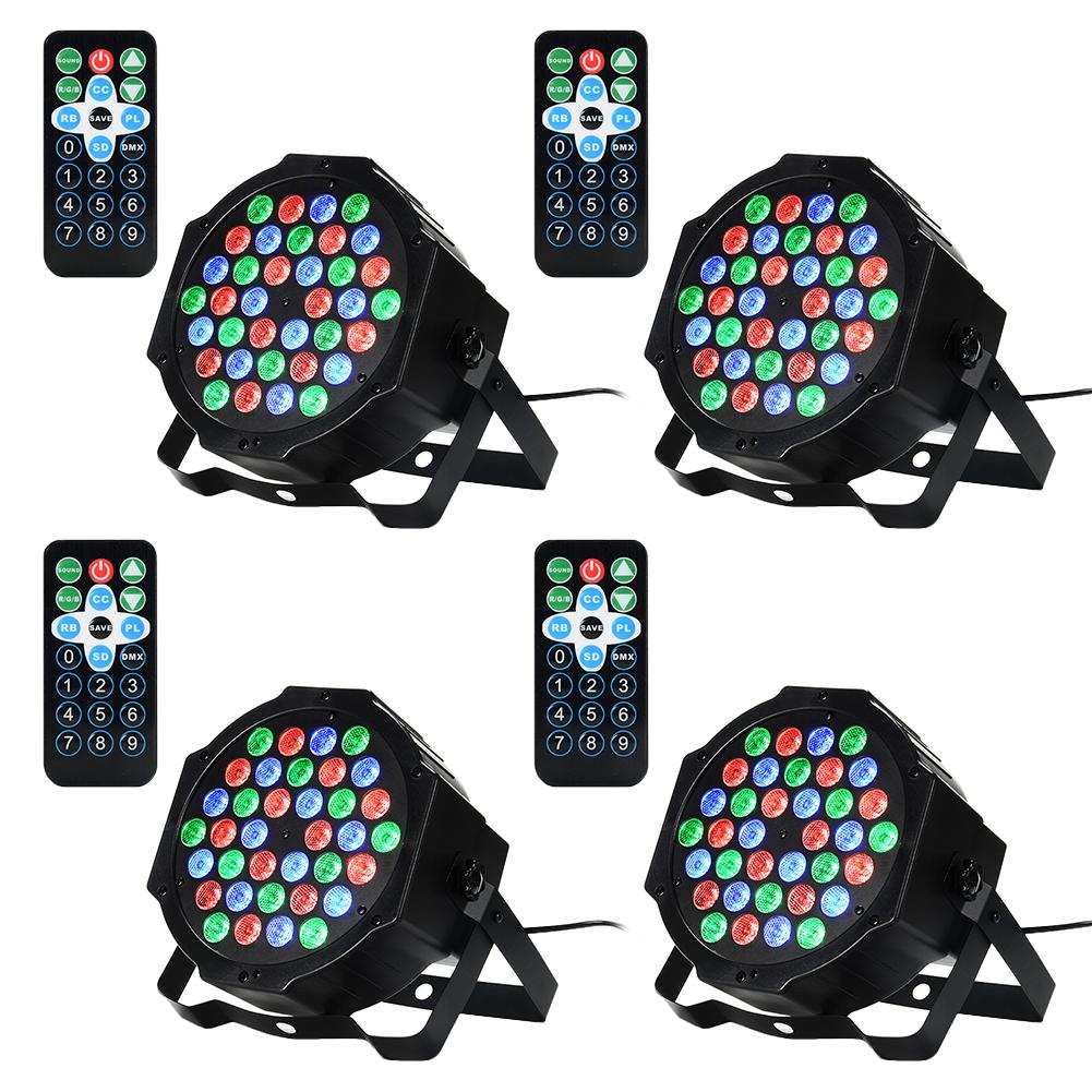 4 Packed 36 LED Par Lights RGB Colorful 7 Lighting Modes Stage Lights Flexible Remote Control DMX Control Disco Lights US Plug
