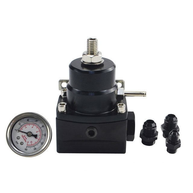 AN8 High Pressure Fuel Regulator W / Boost-8AN 8/8/6 EFI with Reinforcement black