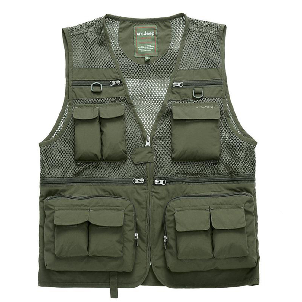 Outdoor Zip Up Fishing Vest Quick-drying Breathable Multi-pocket Mesh Jacket Photography Hiking Army Green_3XL