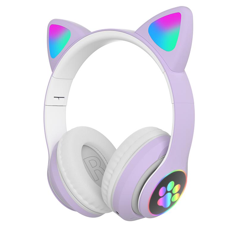 Children's Headphone Rgb Luminous Cartoon Animal Shape Bluetooth Headset purple