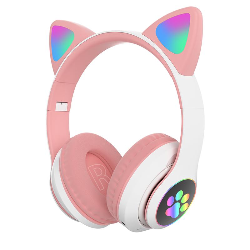 Children's Headphone Rgb Luminous Cartoon Animal Shape Bluetooth Headset Pink