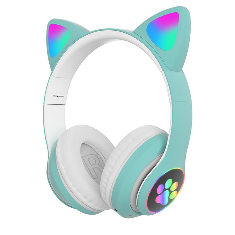 Children's Headphone Rgb Luminous Cartoon Animal Shape Bluetooth Headset green