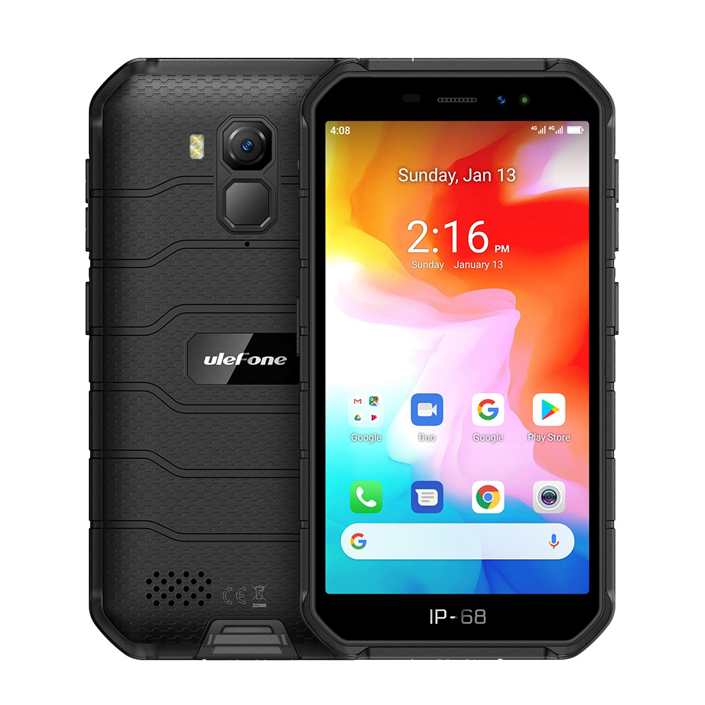 Original ULEFONE Armor X7 5.0-inch Android10 Rugged Waterproof Smartphone Cell Phone 2GB 16GB ip68 Quad-core NFC 4G LTE Mobile Phone black_Non-European version
