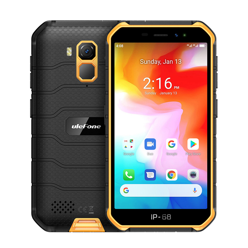 Original ULEFONE Armor X7 5.0-inch Android10 Rugged Waterproof Smartphone Cell Phone 2GB 16GB ip68 Quad-core NFC 4G LTE Mobile Phone Orange_Non-European version