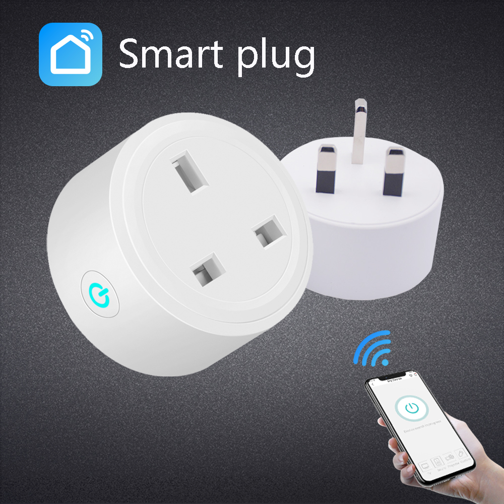 WiFi Smart Socket British Standard Alexa Mobile Phone Timer Switch Socket Remote Control Smart Home Device white